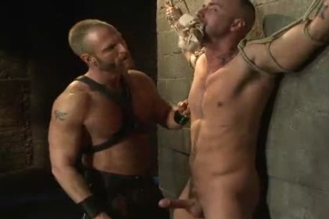 giant weenie homosexual tied To The Wall receives Cbt