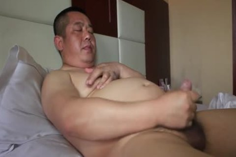 asian daddy Bear Shows Off sexy Body And spooges Like Fountain