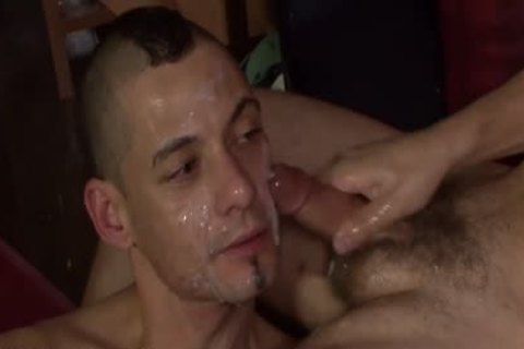 mad Bukkake boy loves receiveting his Face covered With cum