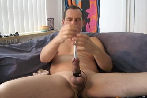 A fine Masturbating Session With Electro Stimulation And Sounding My penis.