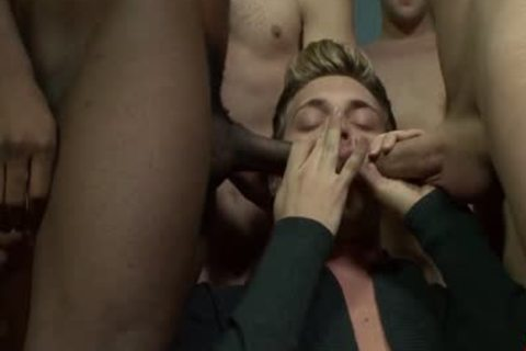 blonde Blue Eyed Hunk Is On his Knees getting his glamorous Face spermed