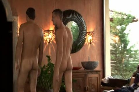 Three young homosexual men Enjoying Sex jointly