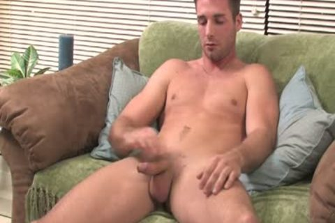fellow Moans From enjoyment while Jerking His big bulky penis