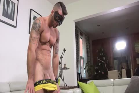 Ripped Masked guy Whips It Out And Plays