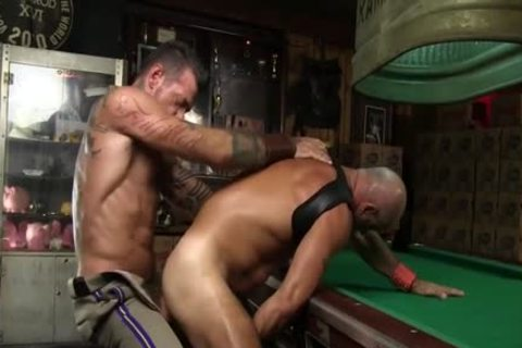 Leather Clad dudes bang Each Other On The Pool Table