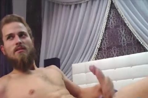 Bearded man With A enormous Uncut Curved penis Cums