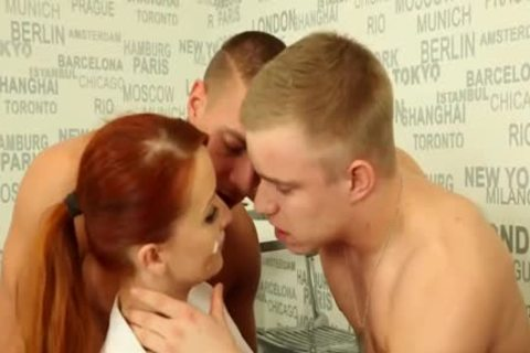 lusty bisex guys fucking With A Redhead