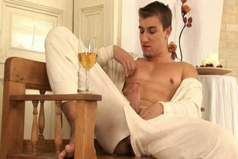 This stylish gay chap Comes Home And Drinks Some Wine before His Has A Sensual Self Devotion Session