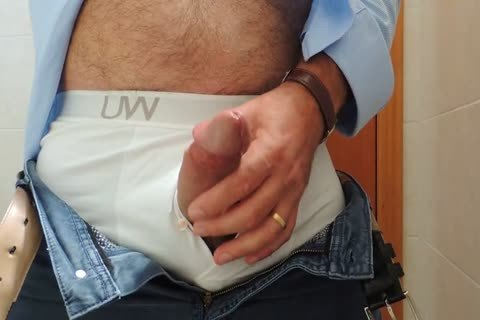 Teasing And stroking A nice Tool With Precum In Some White Boxer underclothing