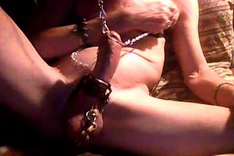 jack off With handcuffed nipples & pecker