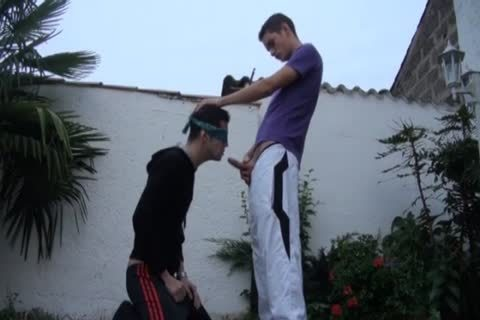 Max Lacoste pokes Blindfold lad