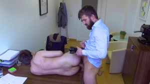A naughty manager opens his taut virgin butthole
