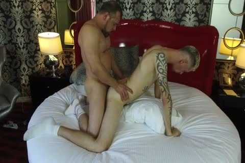 Robert Rexton receives poked By Muscle Daddies Max Sargent & Chance Caldwell