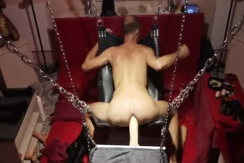 Sling Doggy With Swinging fake penis