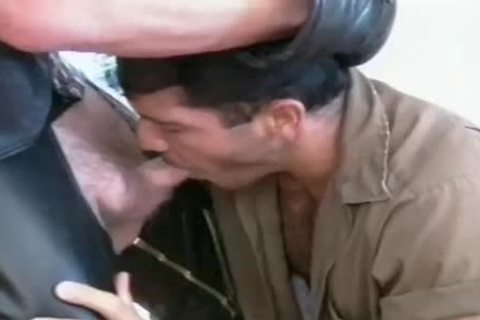 Leather Daddy receives His rod Sucked before butthole poke