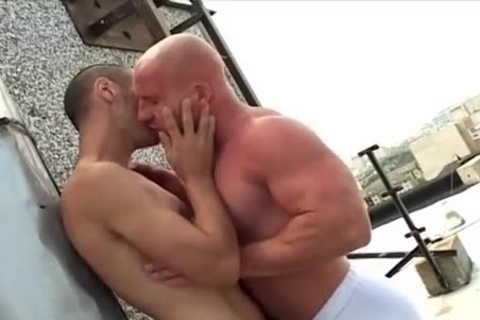 shaved blowjob Muscle guy plows His Skinny ally