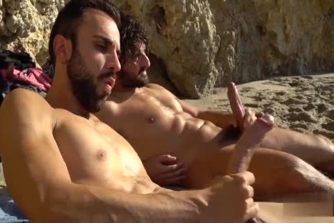 large ramrods wanking AT THE BEACH