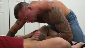Family Dick: Tight Tristan Hunter sucks Sean Duran in the bed