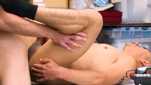 YoungPerps: Officer latino Dublin Grey stripteasing in a shop