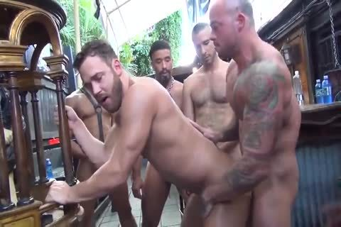 MusclePup Logan Moore receives group gangbanged Barebacked pound