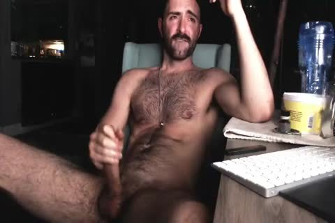 curly Chest man stroking His gigantic knob And Shooting gigantic Load Of cum