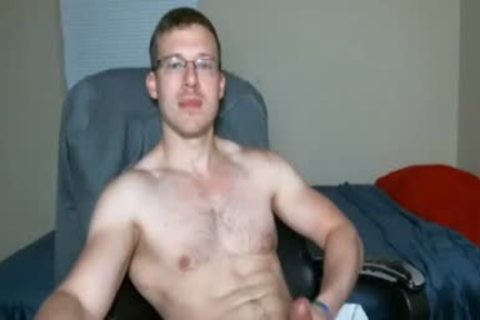 guy With Glasses jerking off On web camera