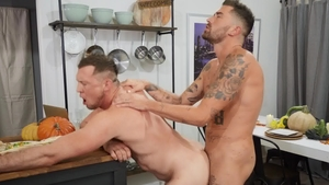 Drill My Hole: Dante Colle licking Chris Damned on the table