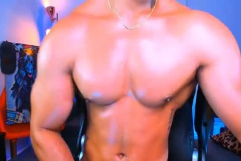 horny Brown man Showing His Pectorals And His large penis