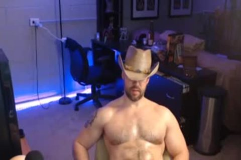 Cowboy dude stroking With His large knob In Live