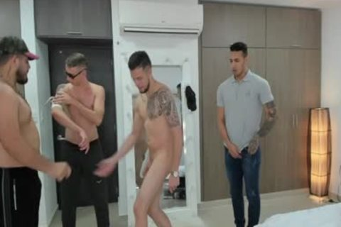 bunch Of boys Playing With Their jock In Live